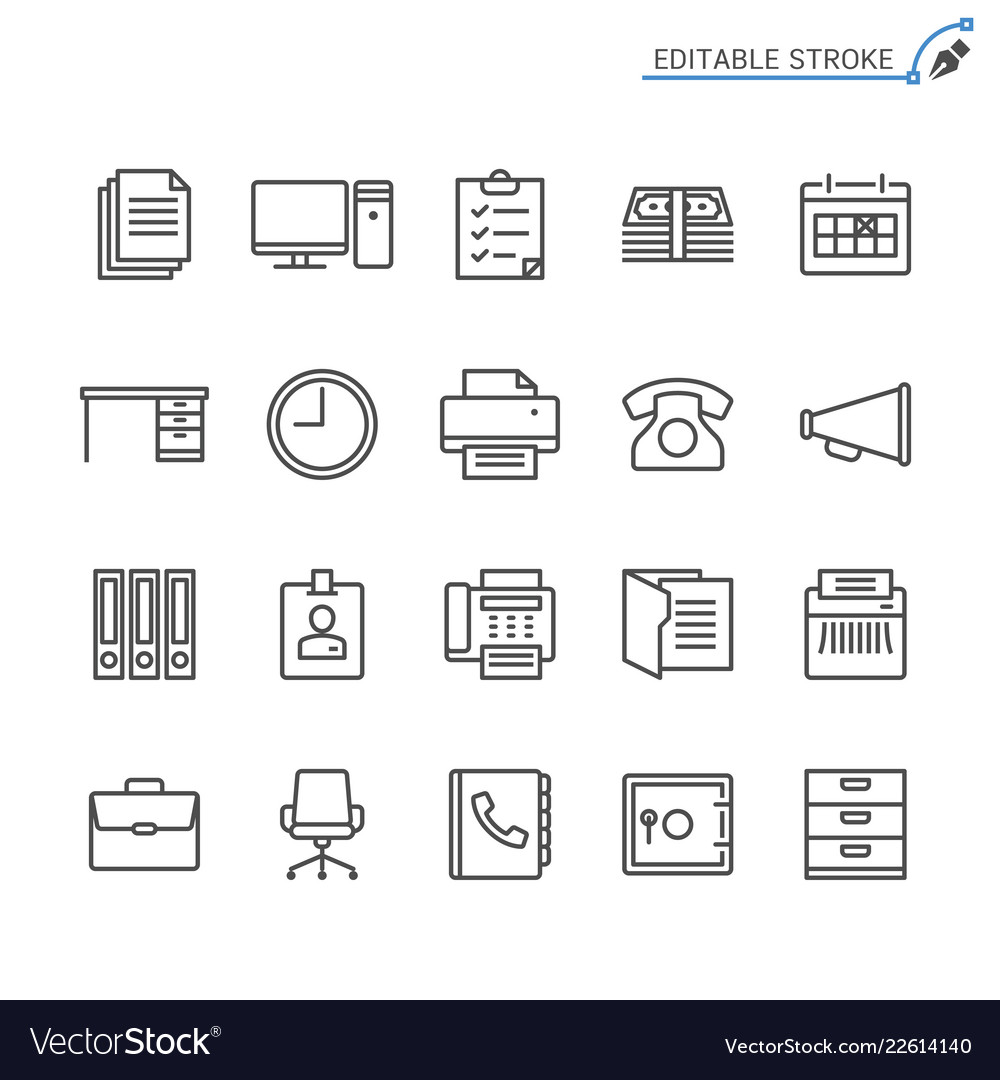 Office supplies line icons editable stroke