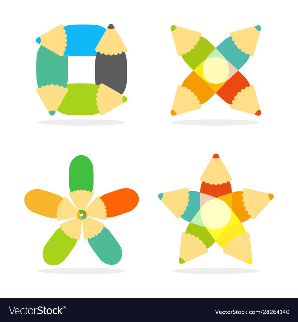 Pencil colorful education draw logo drawing art