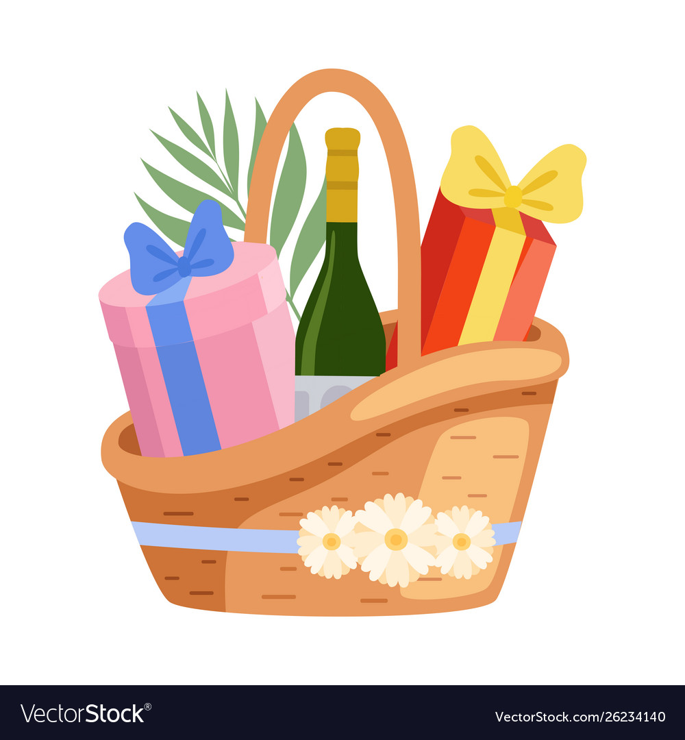 Present basket full gifts and alcohol bottle