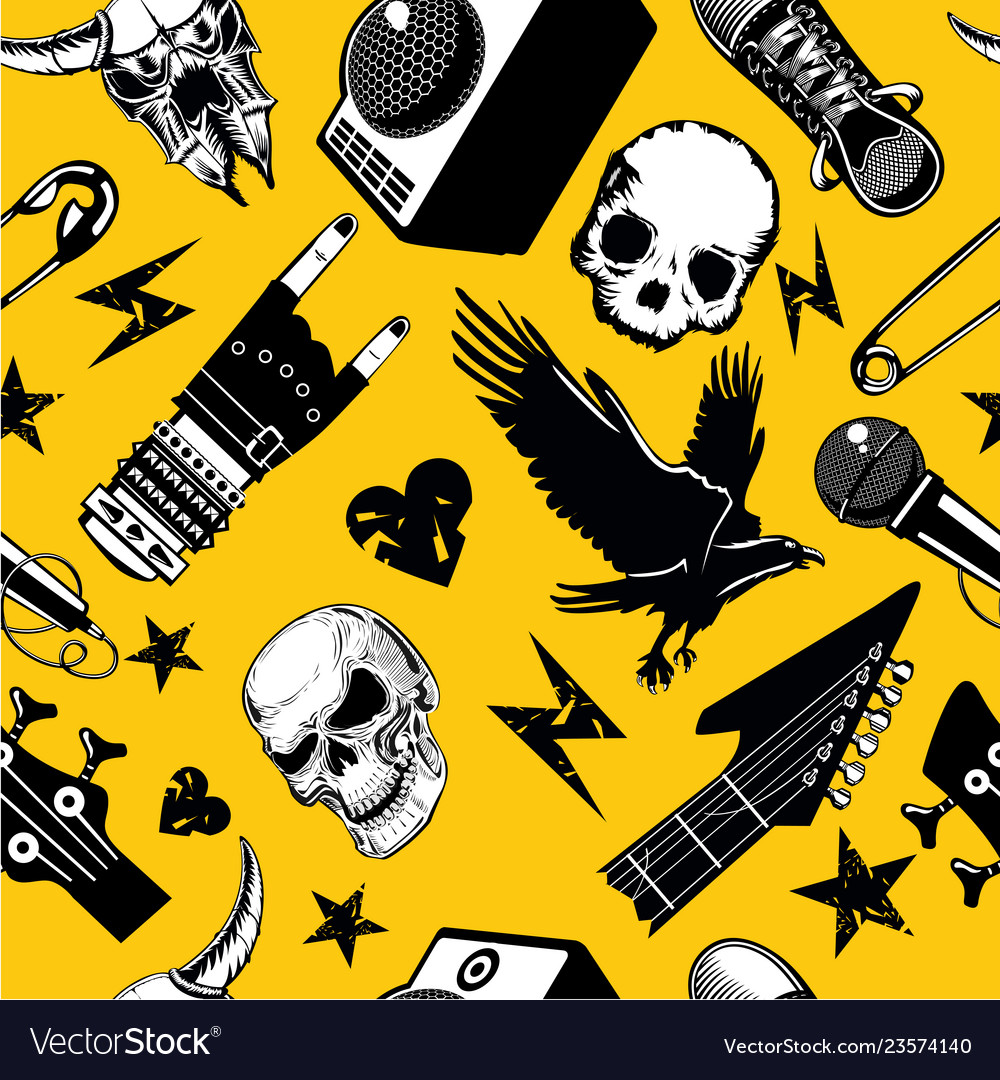 Rock and roll seamless pattern music