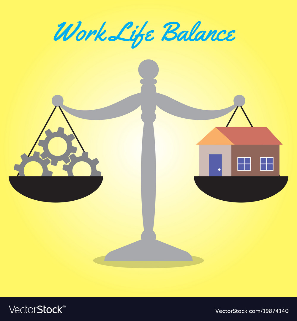 Scale of work life balance cogwheels and home
