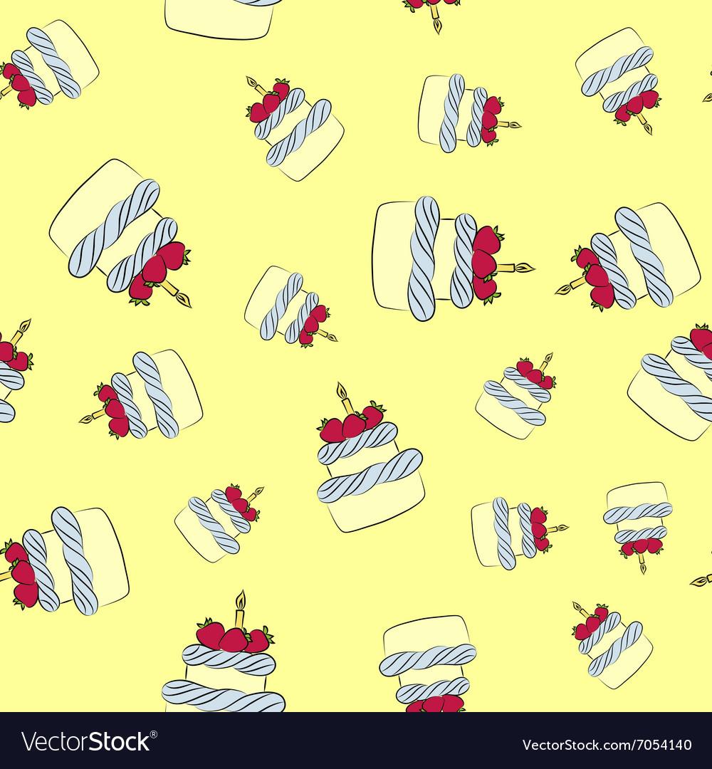 Seamless cream cake pattern with yellow background