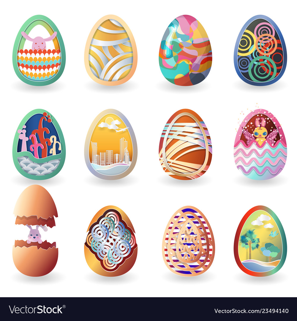 Set of easter eggs with different pattern