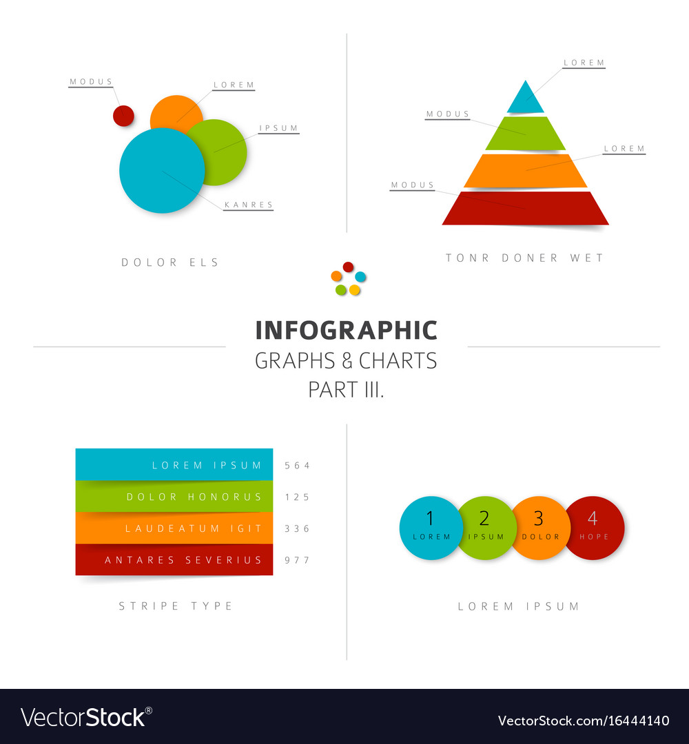Set of flat design infographic charts and graphs 3