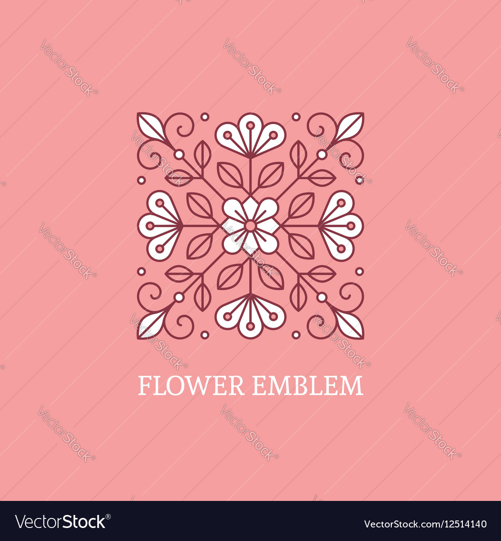 Square floral logo template