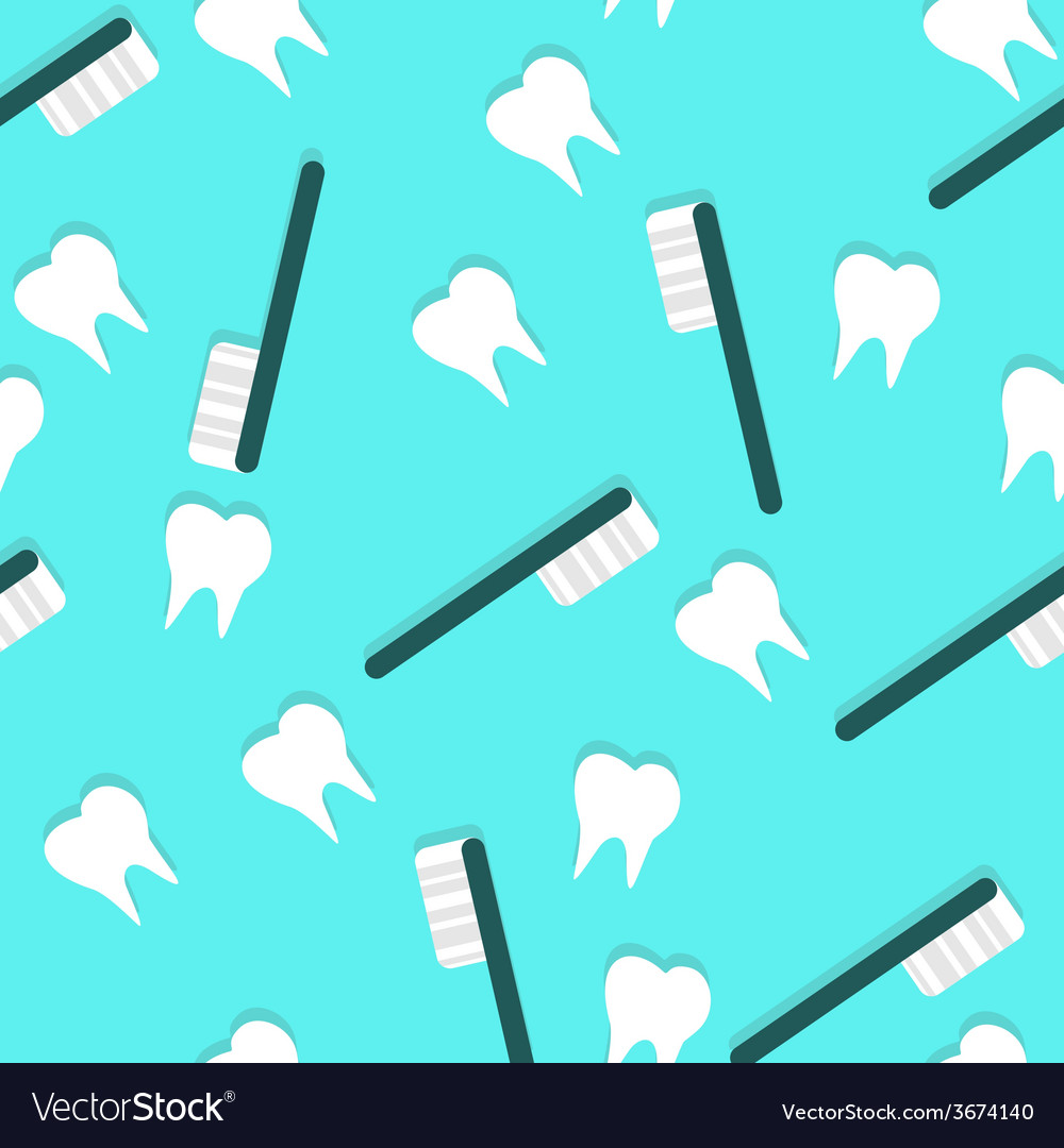 Toothbrush and Teeth Seamless Texture with Shadows vector image