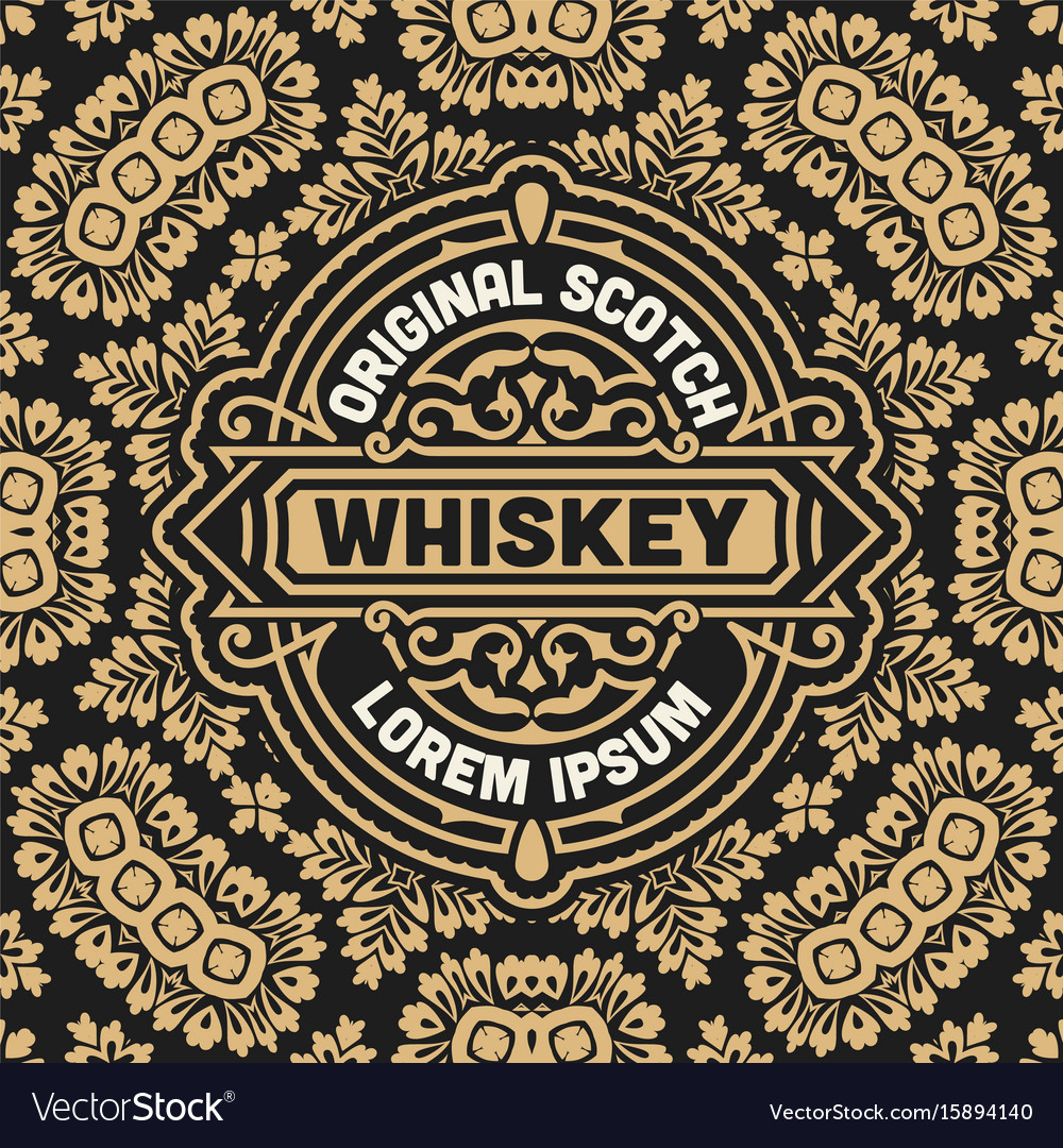 Whiskey label with old frames Royalty Free Vector Image