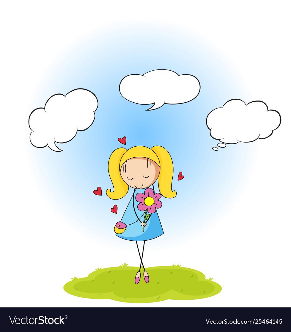 A girl with speech balloon