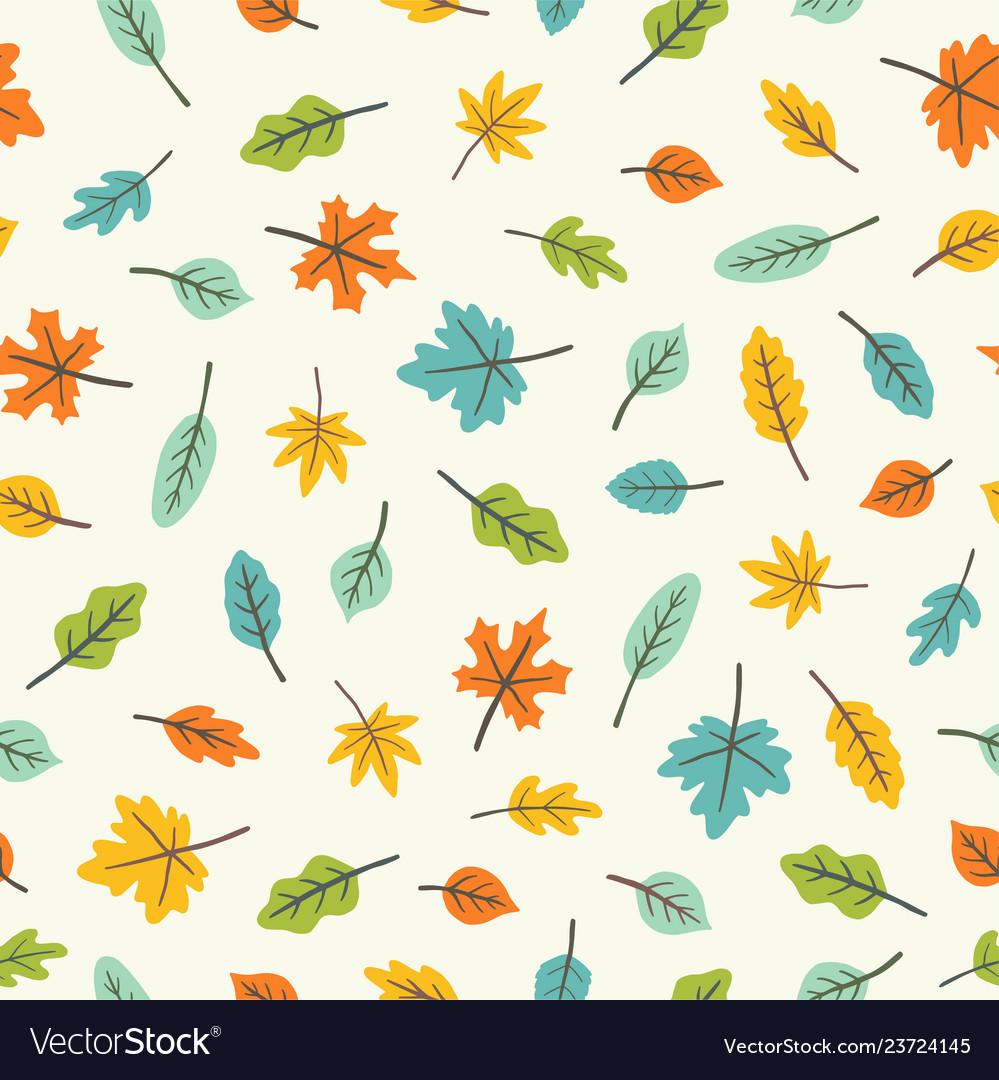 Beautiful leaves colourful seamless pattern