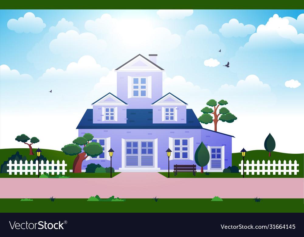 Beautiful Modern House Exterior Facade Yard Vector Image