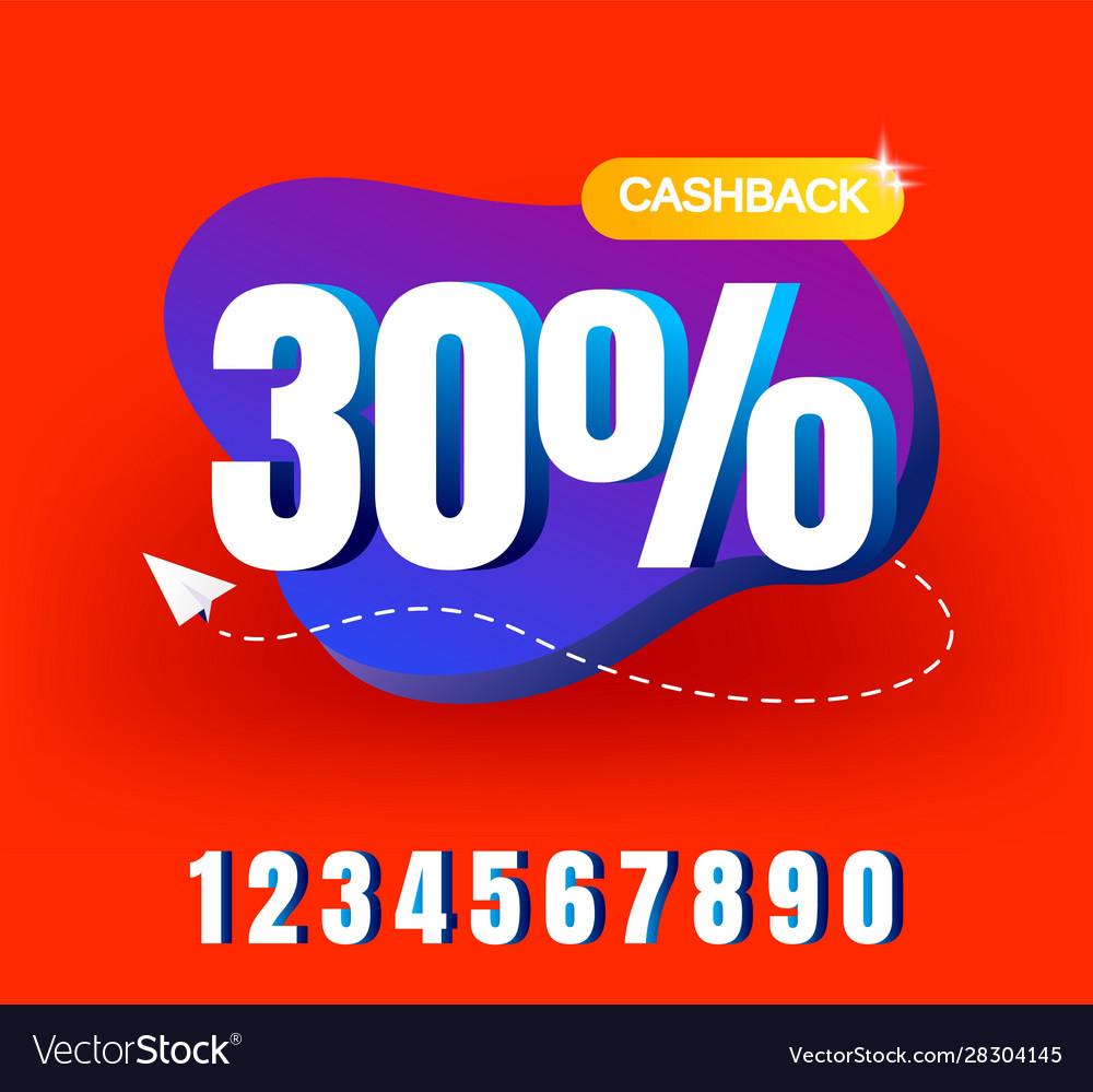 Cashback banner design with 30 cashback offer