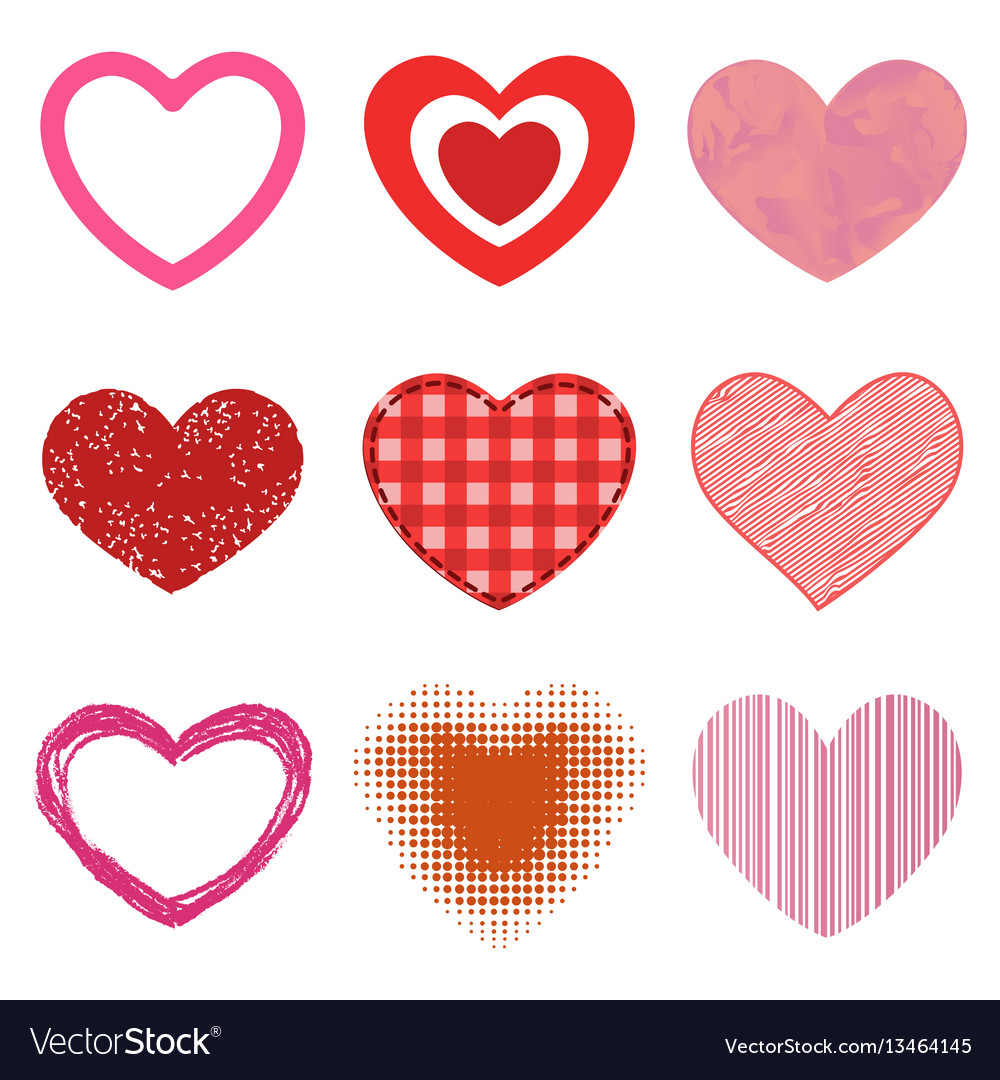 Differents style red heart icon isolated