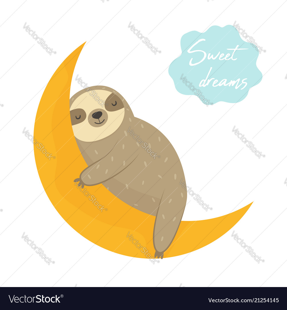 Dreaming funny sloth sleeping on the moon