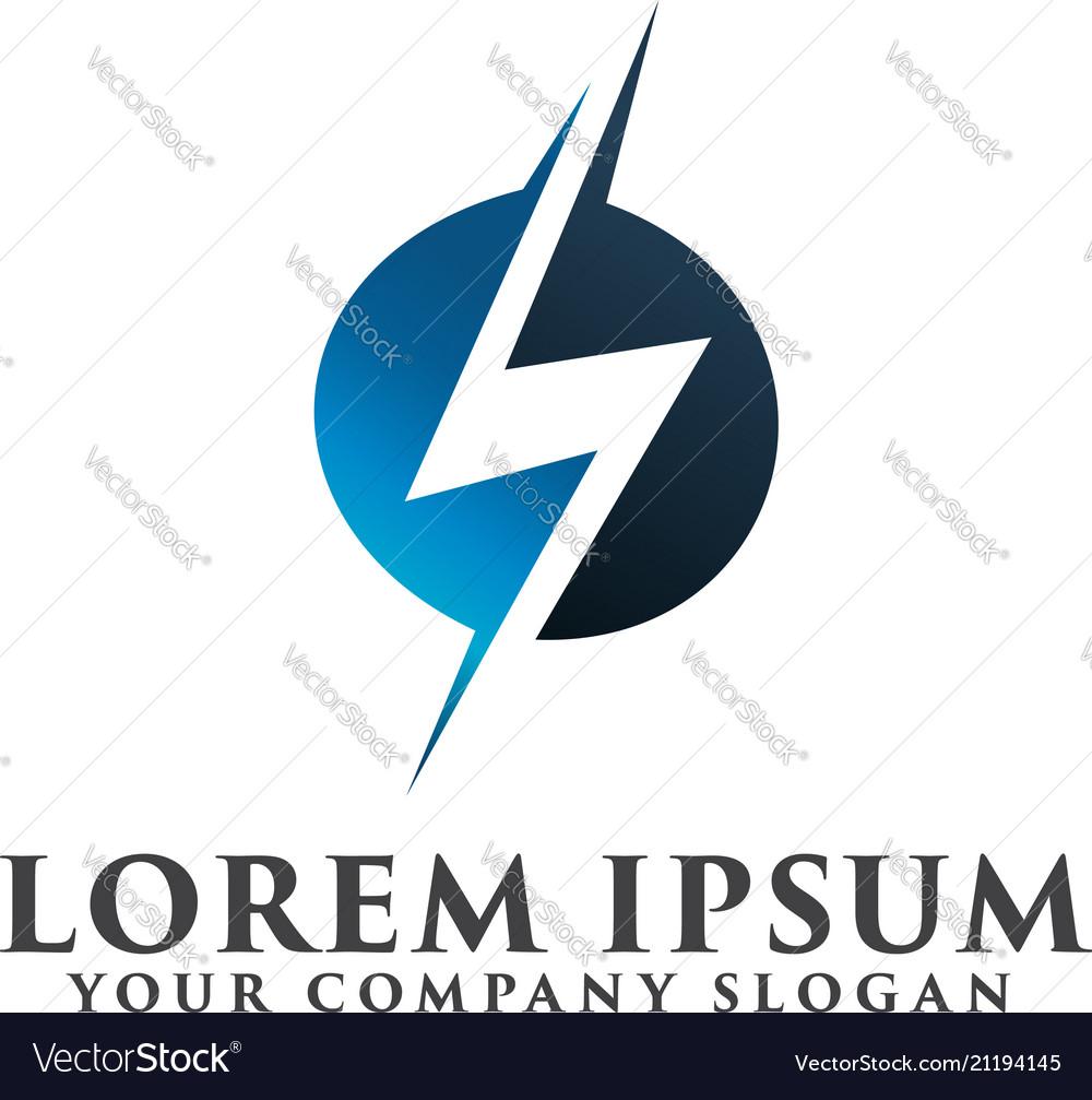 Electrical lightning logo design concept template