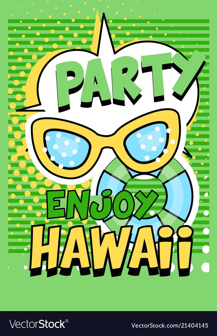 Enjoy party hawaii banner green bright retro pop