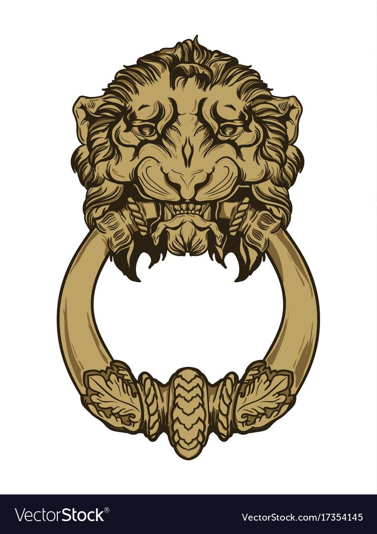 Gold lion head door knocker hand drawn vector image