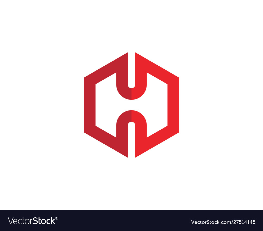 H logo hexagon icon vector
