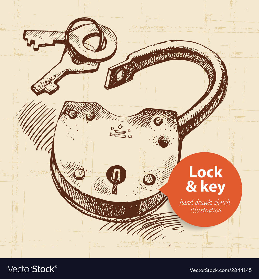 Hand drawn sketch vintage lock and key banner vector image