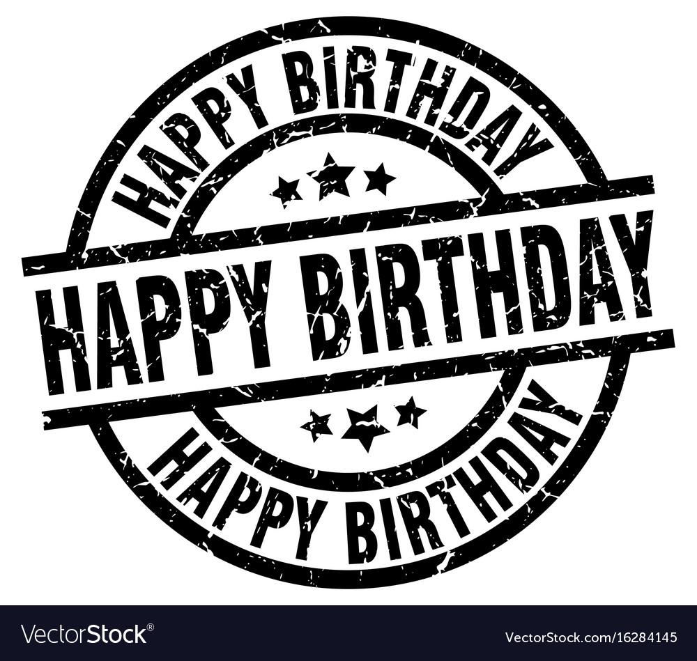 Happy birthday round grunge black stamp