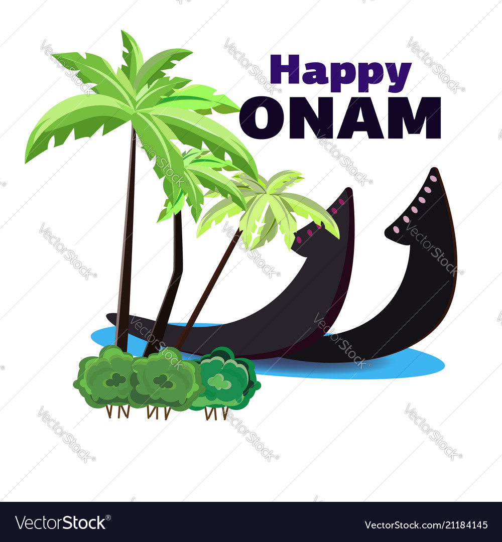 Happy onam of a boat on the shore of