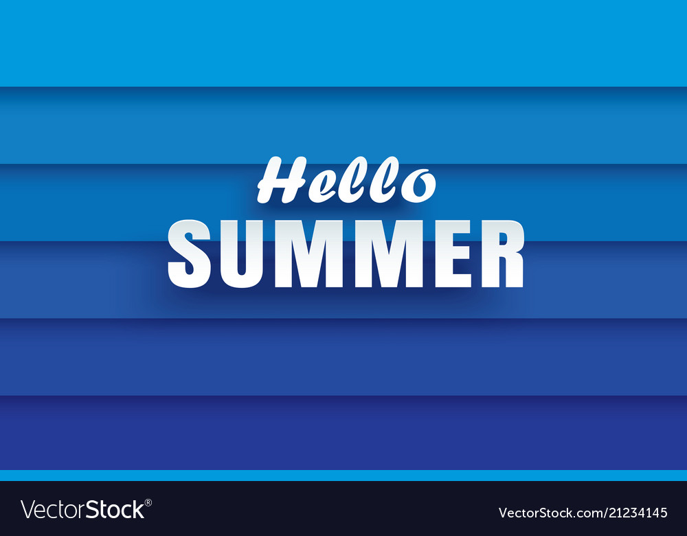 Hello summer white text on abstract blue wave