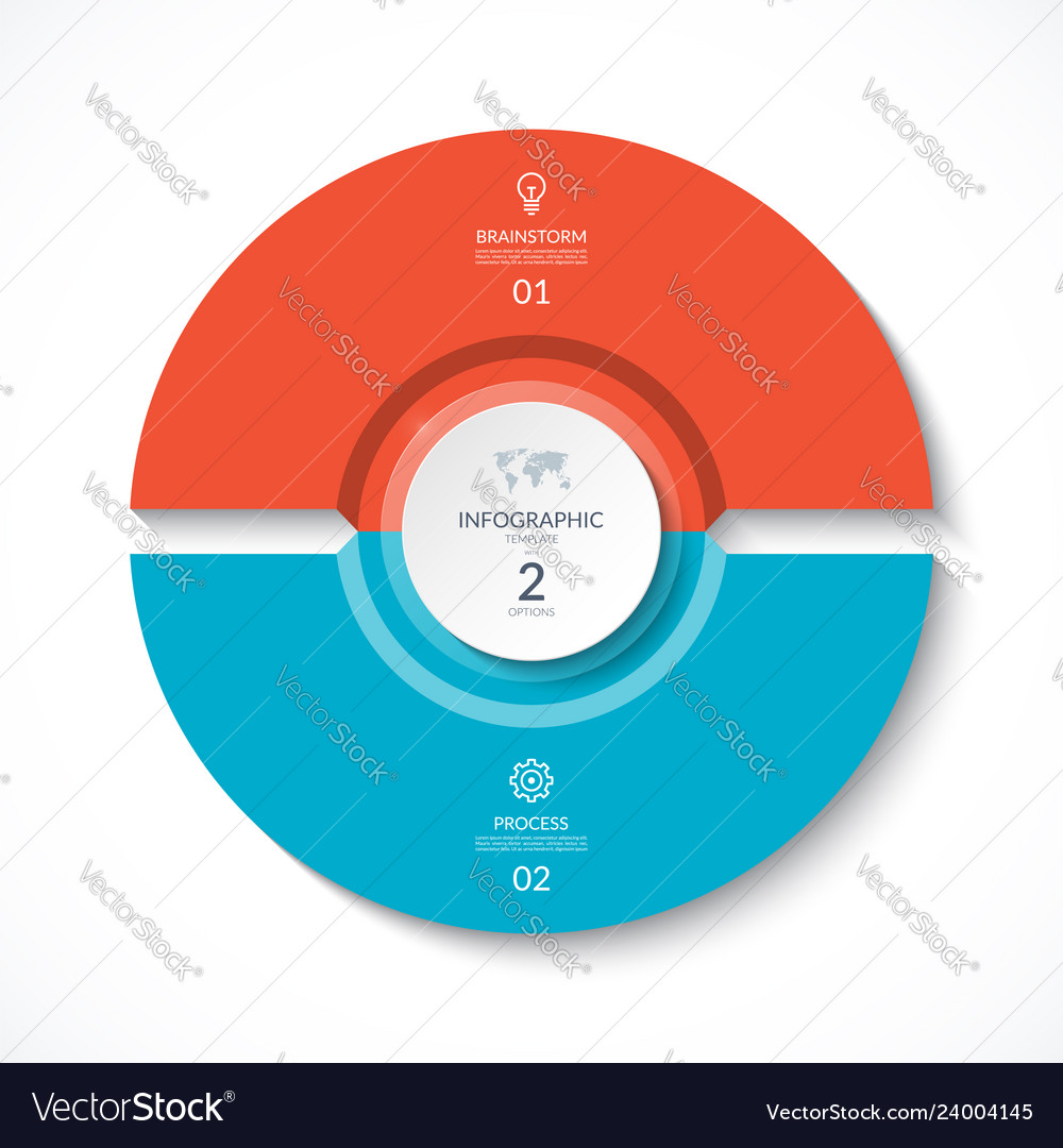 Infographic circle cycle diagram with 2 stages