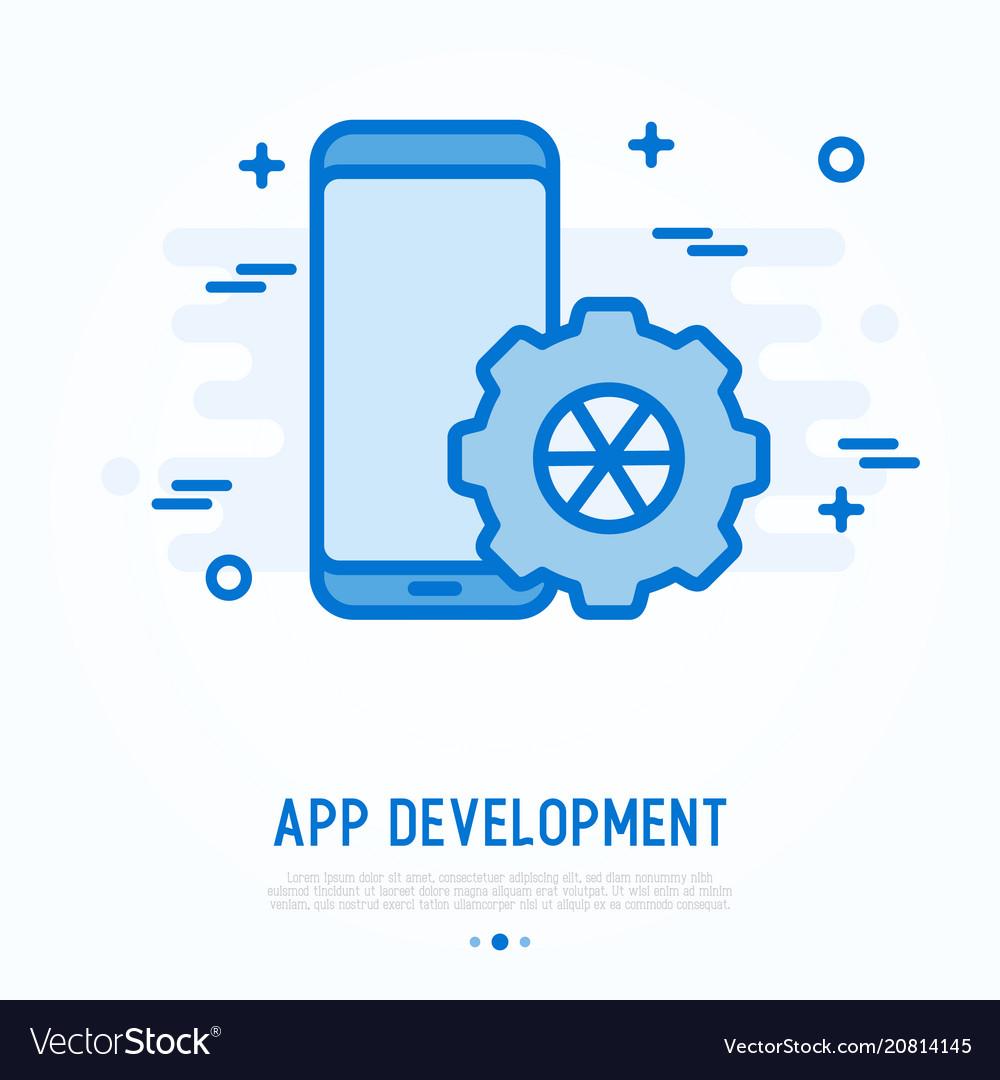 Mobile app development thin line icon
