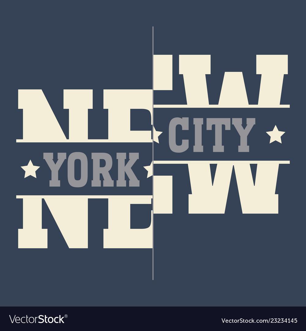 New york brooklyn sport wear typography emblem t