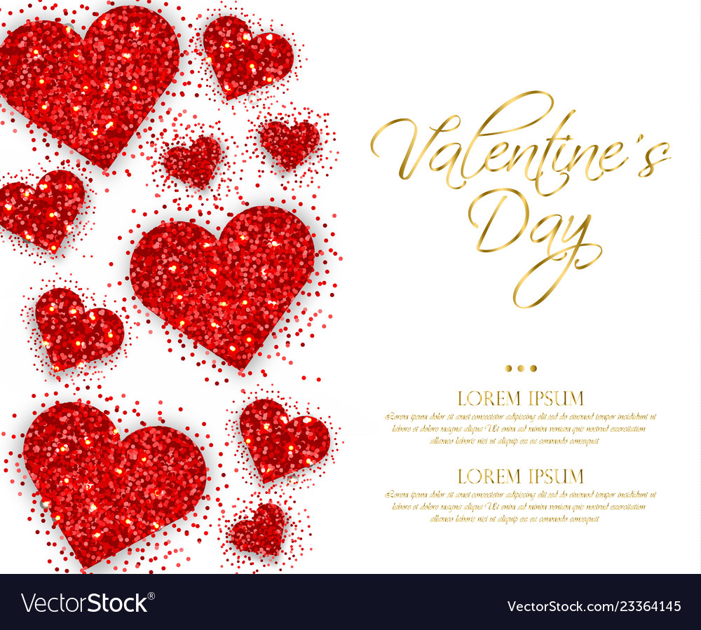 Red glitter hearts valentine day romantic