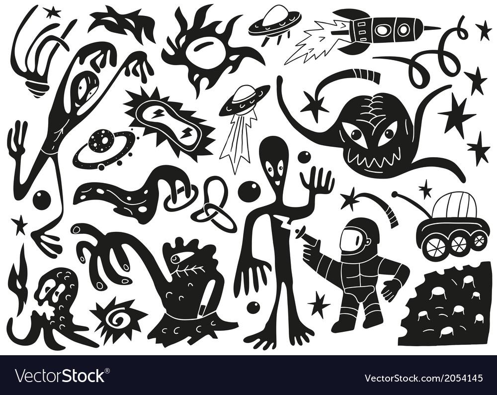 Space invaders aliens - doodles set part 1