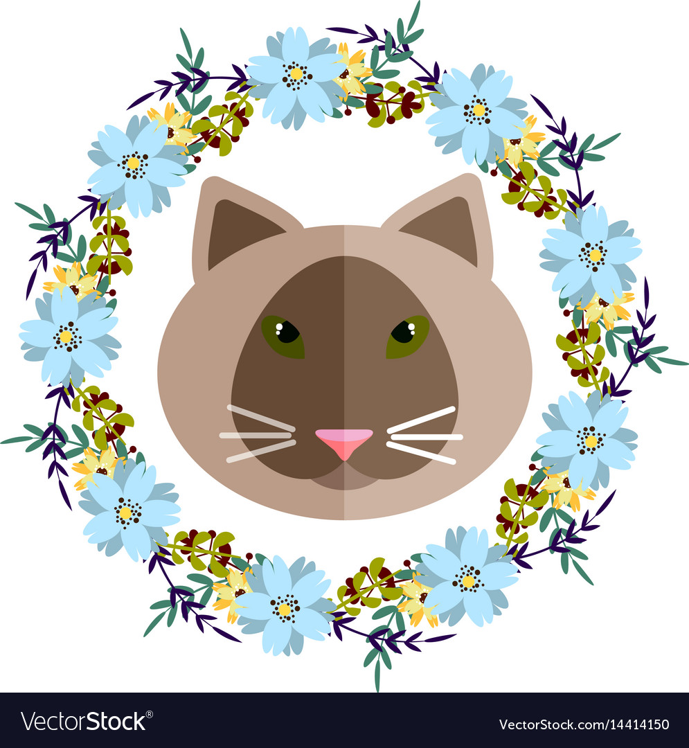 A cat and blue floral wreath royalty free vector image a cat and blue floral wreath vector image izmirmasajfo