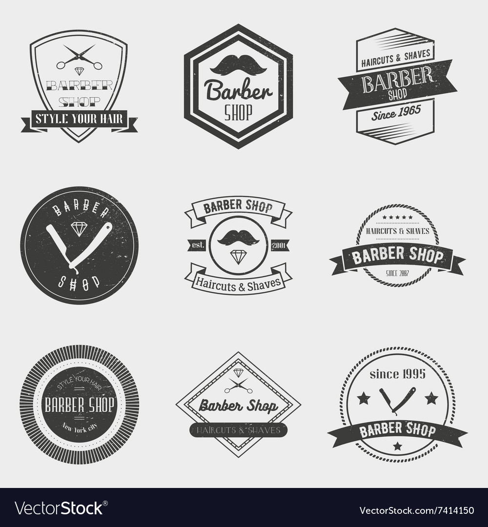 491f23ec874 Barber shop logo set in vintage style Royalty Free Vector