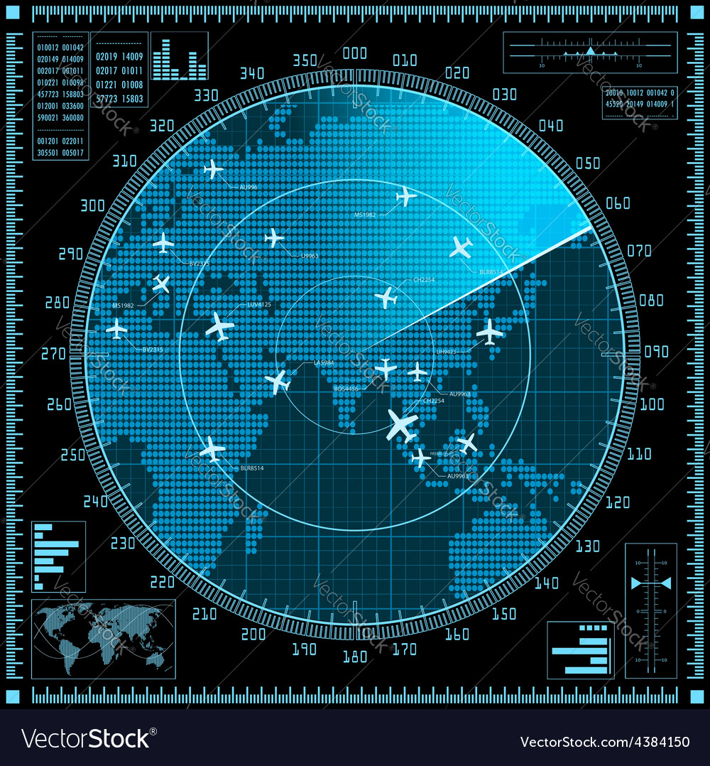 Blue radar screen with planes and world map vector image gumiabroncs Images