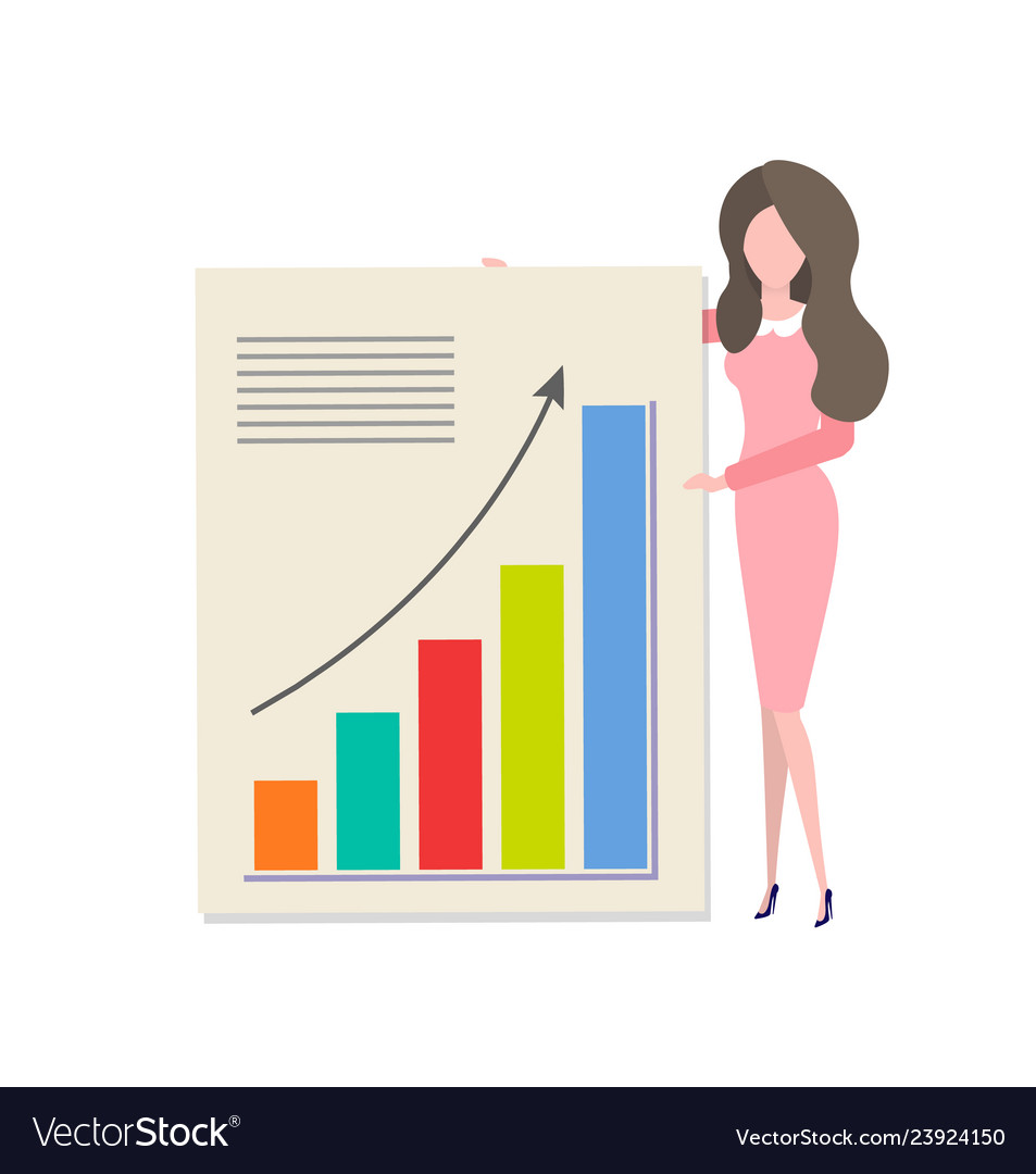 Cartoon woman presenting diagram with income