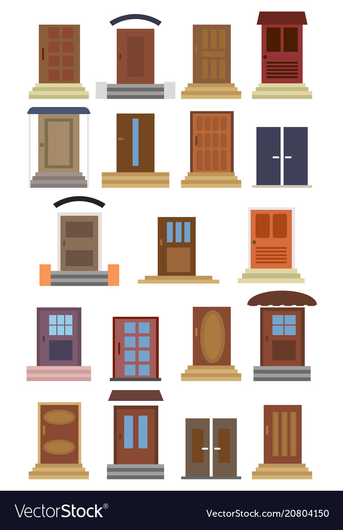 Collection of closed entrance doors