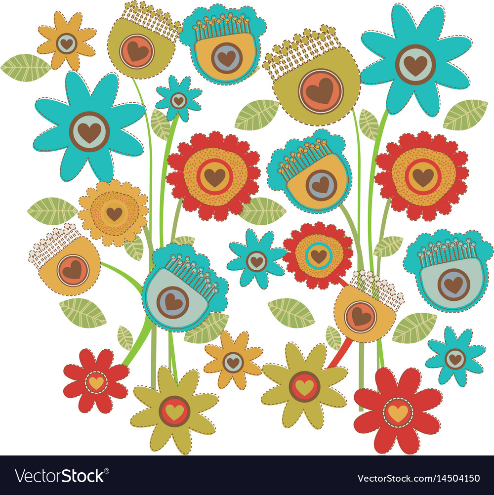 Color background with set of retro flowers tulip