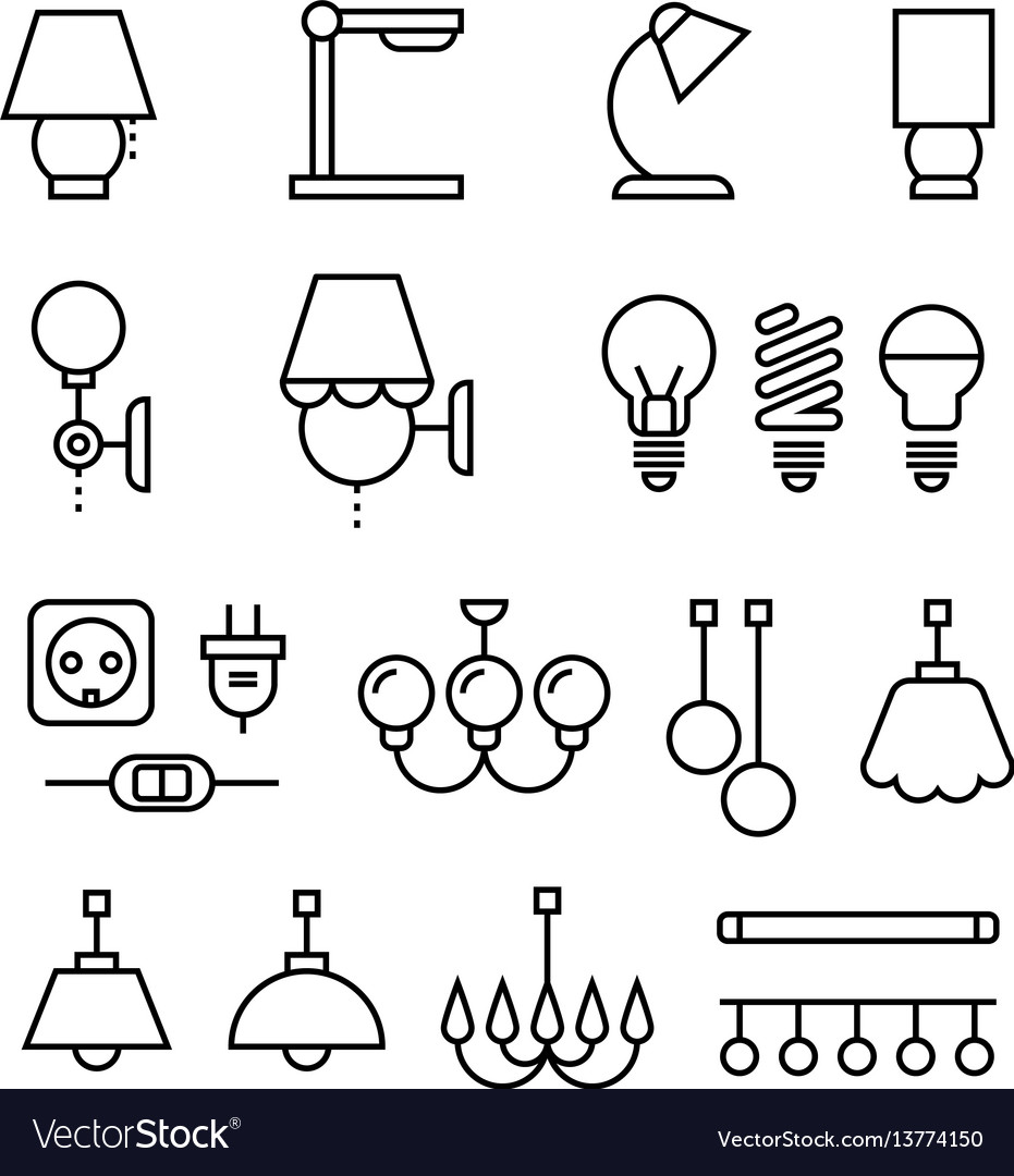 Lamp bulbs chandelier and electrical devices vector image