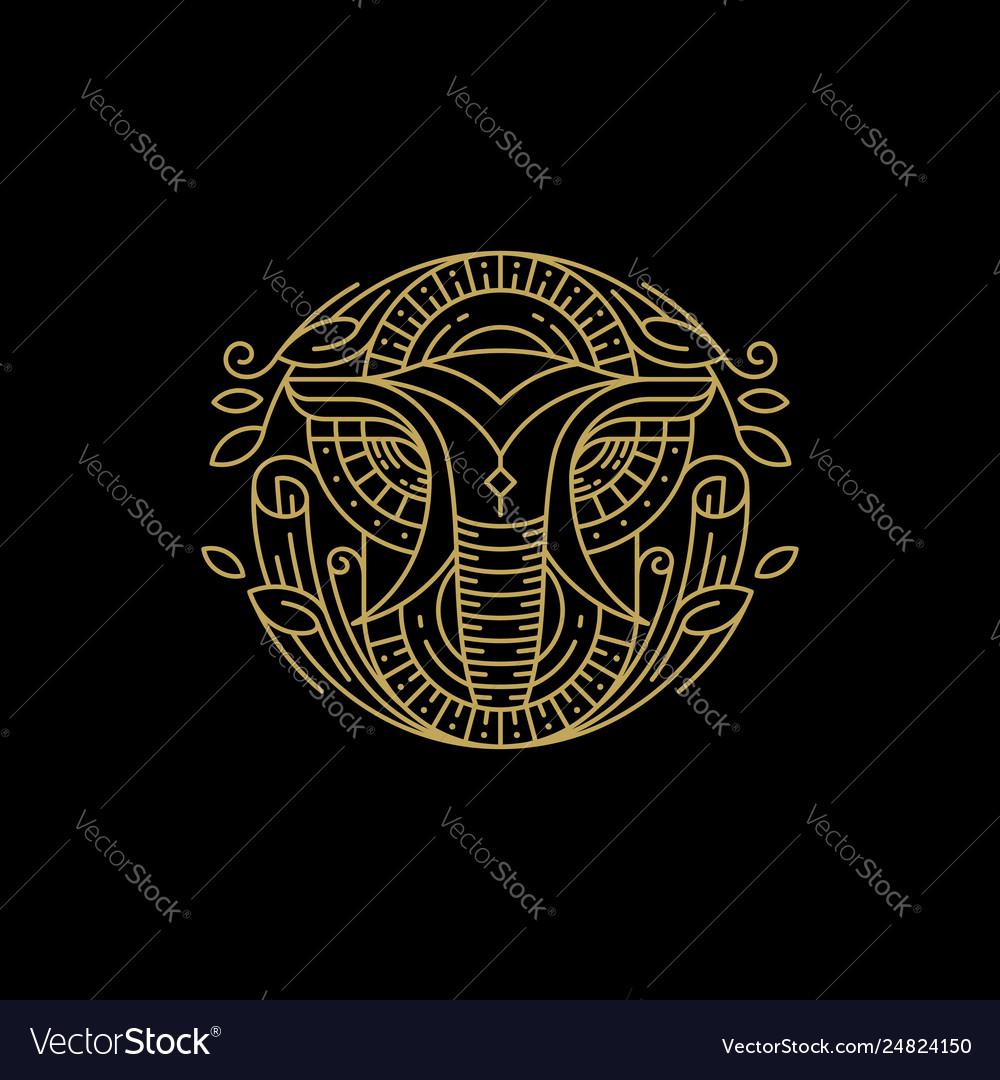 Line art elephant design concept template