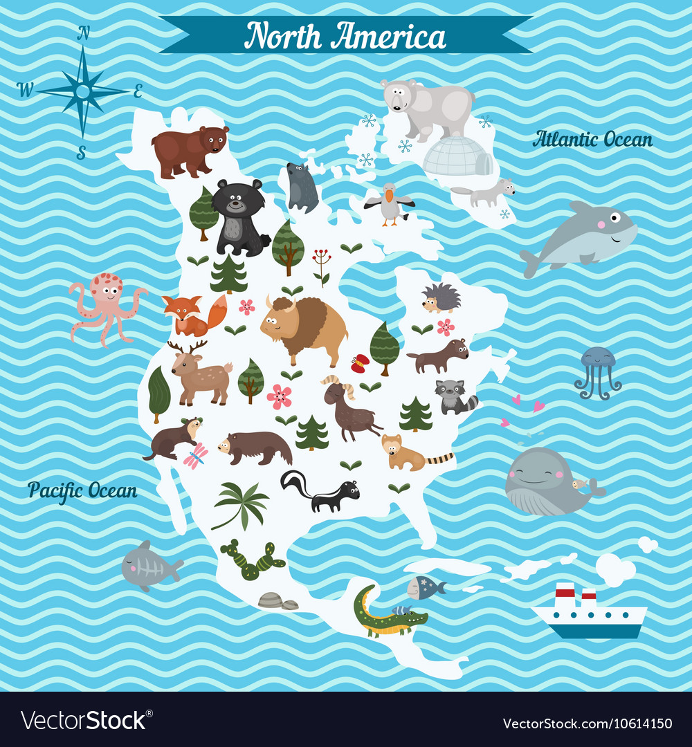 Map of North America continent with animals