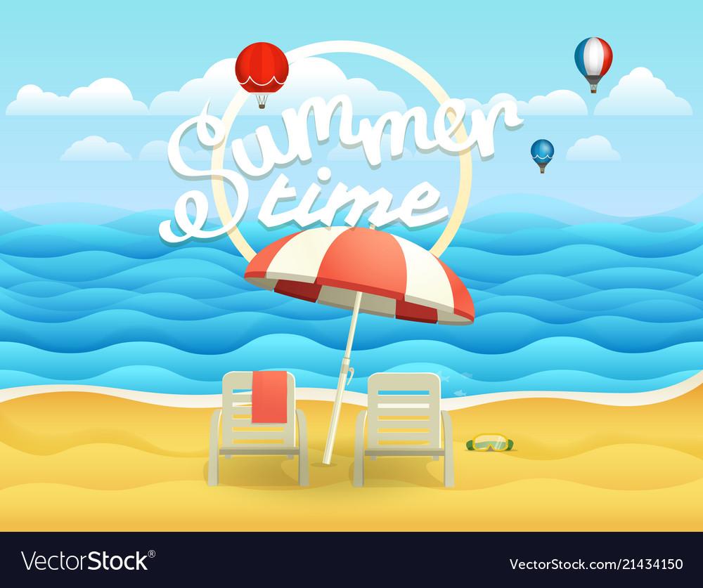Seaside with umbrella beach landcape