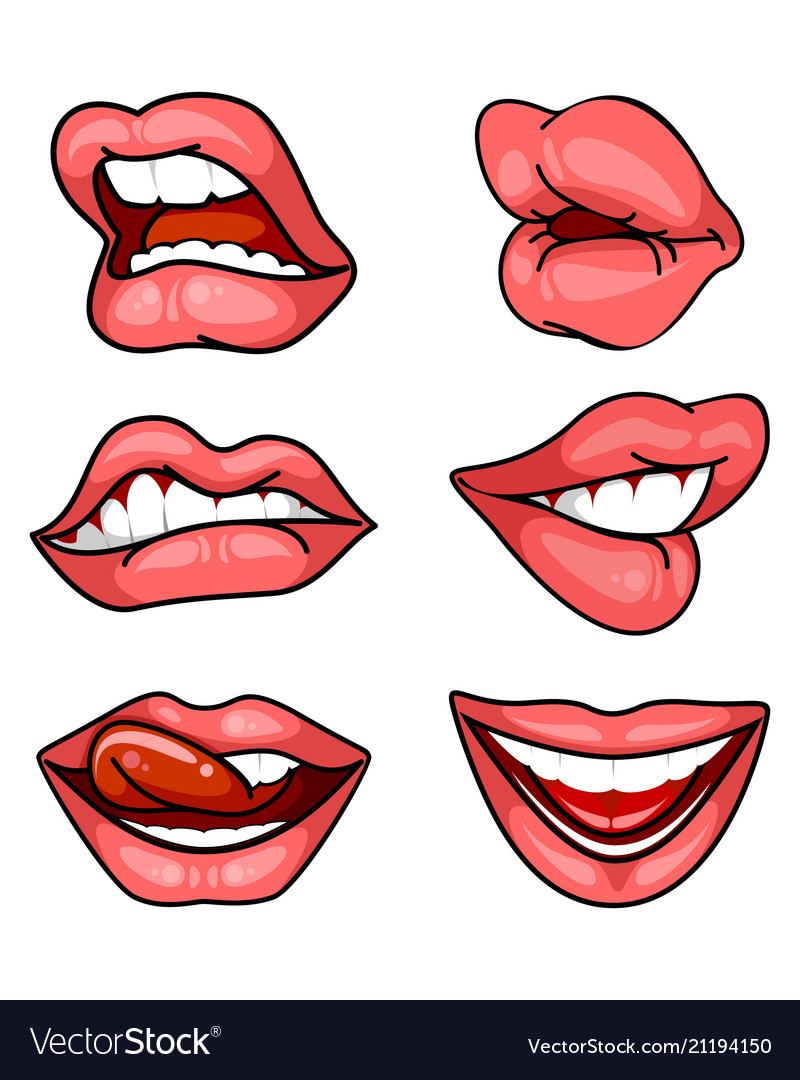 Set of lips on white