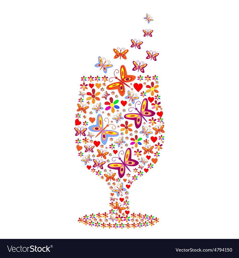 Silhouette of a glass with a pattern of flowers vector image