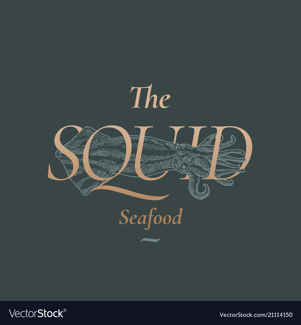 The squid seafood abstract sign symbol or