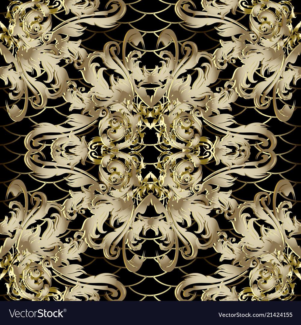 3d gold baroque seamless pattern