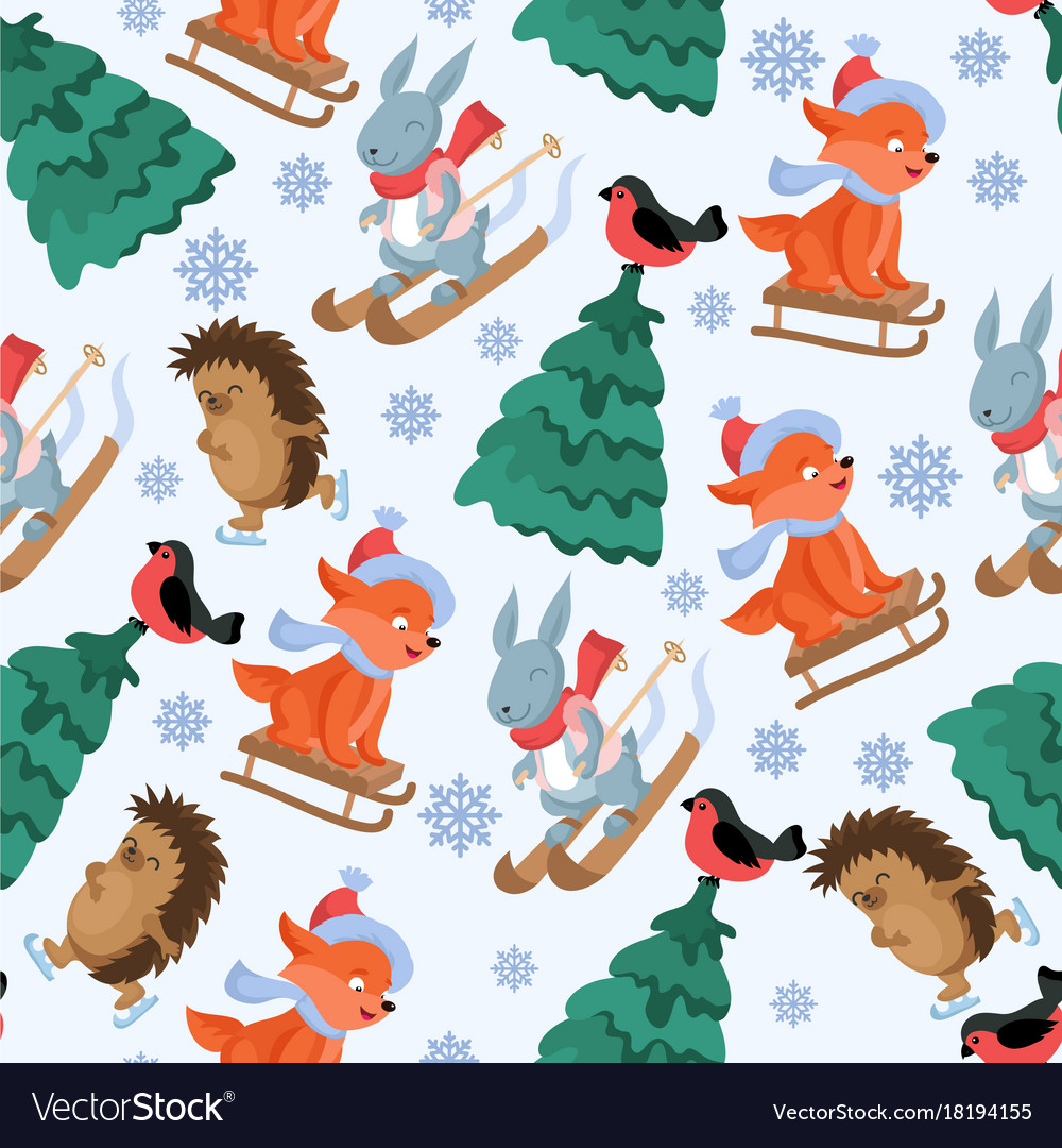 Christmas forest animals seamless pattern