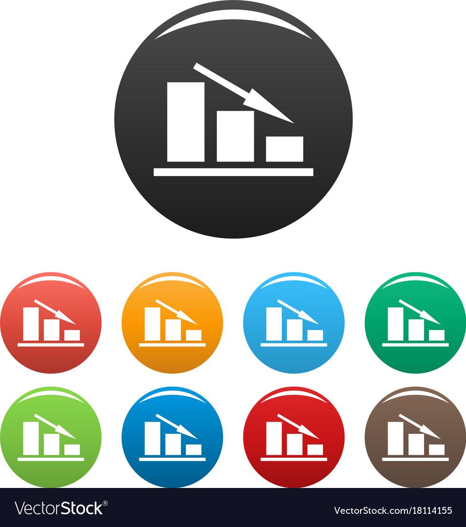 Down chart icons set vector image