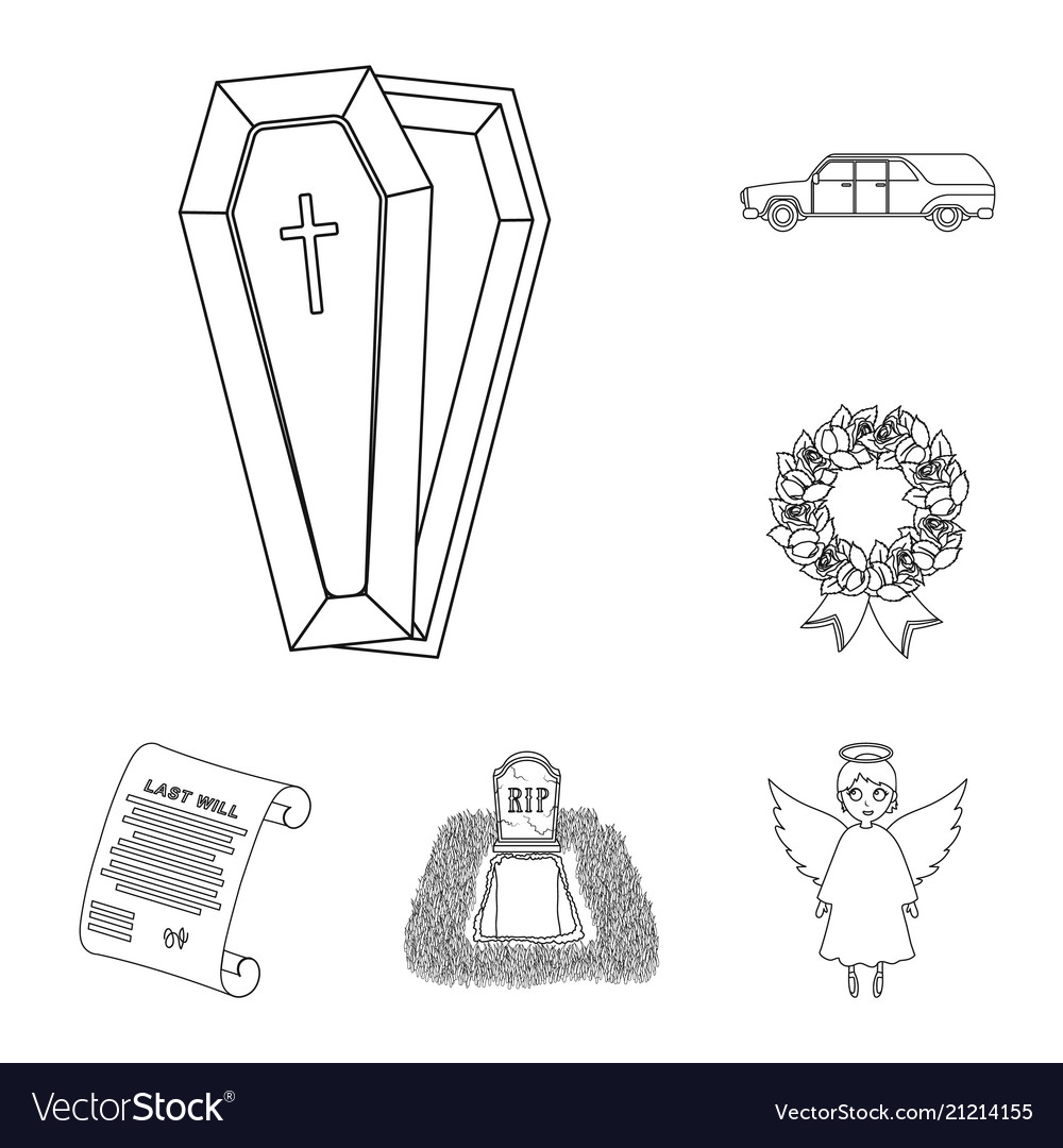 Funeral ceremony outline icons in set collection