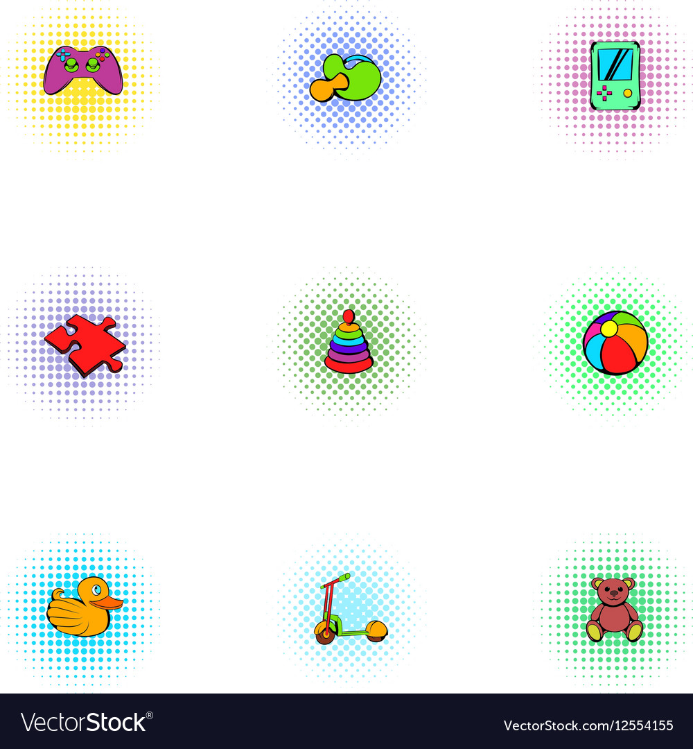 Game icons set pop-art style