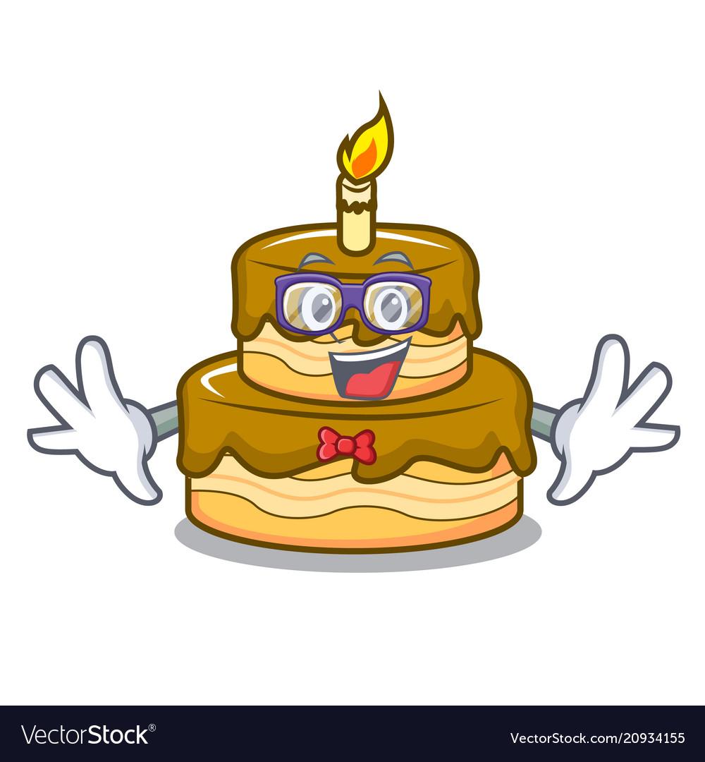 Geek Birthday Cake Character Cartoon Royalty Free Vector