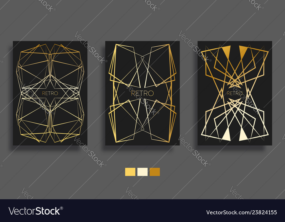 Golden gradient lines background art deco design